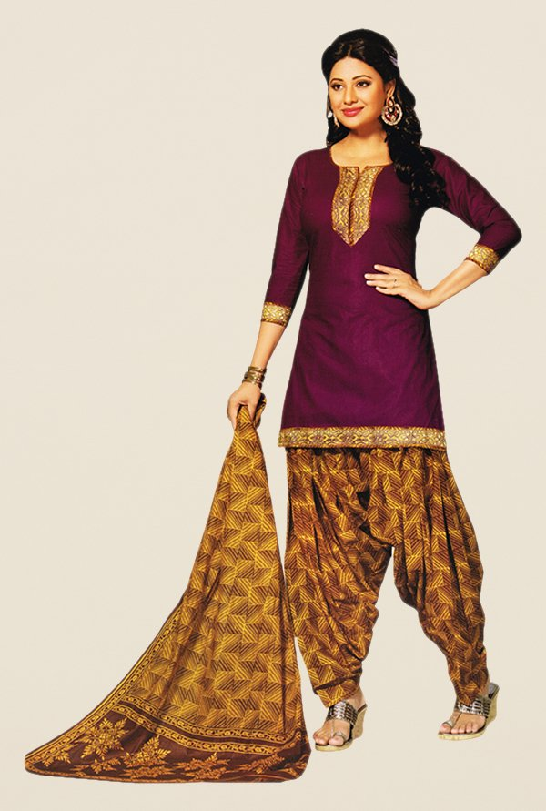Salwar Studio Magenta & Gold Printed Dress Material