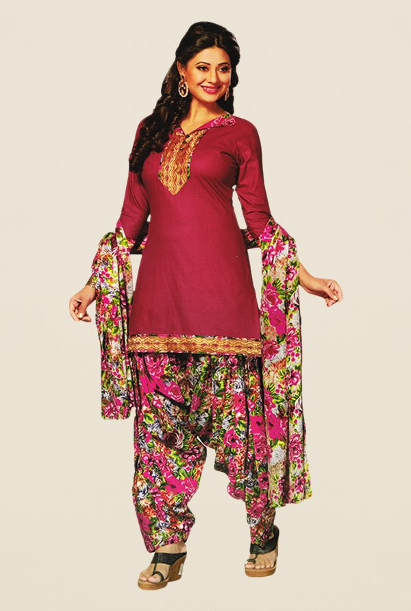 Salwar Studio Pink & Green Floral Print Dress Material