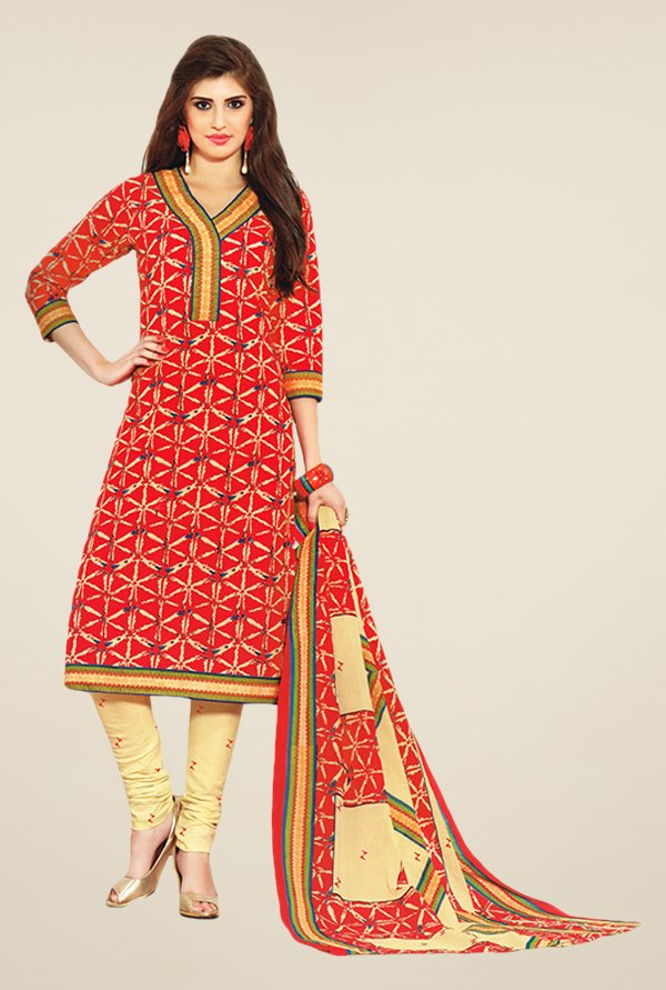 Salwar Studio Red & Beige Printed Cotton Dress Material