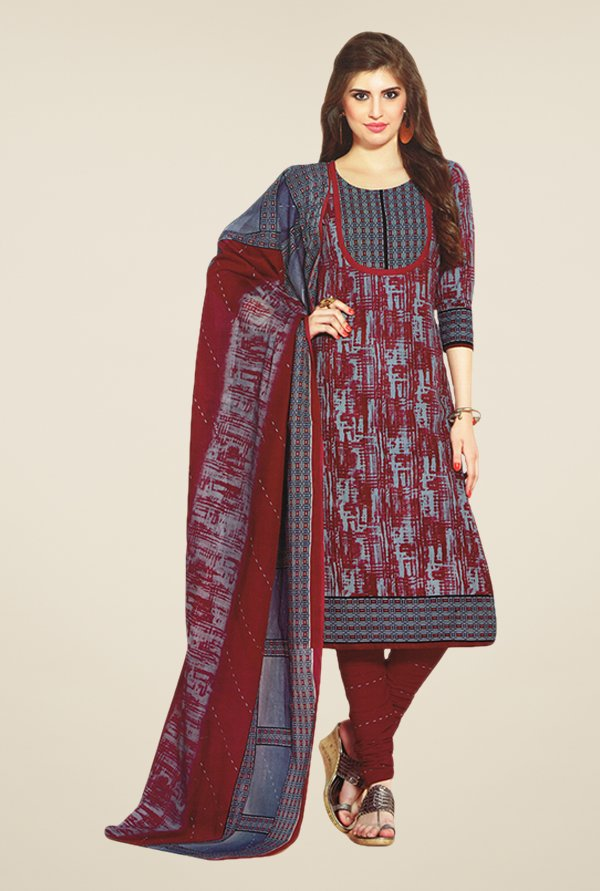 Salwar Studio Wine & Grey Printed Dress Material