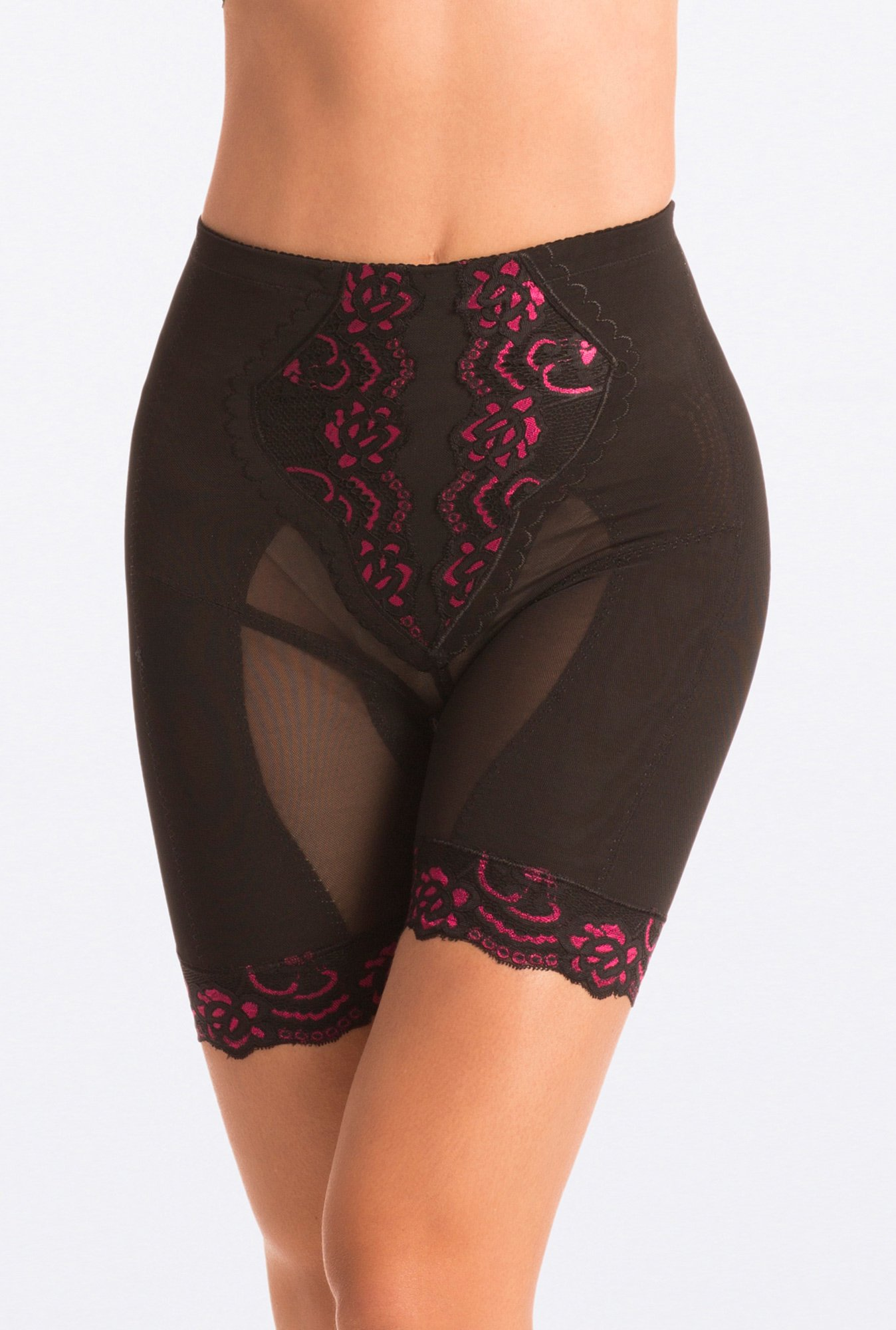 Pretty Secrets Black Pink Lace Slimming Hip & Thigh Shaper