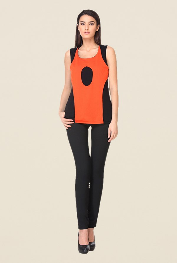 Kaaryah Orange & Black Solid Top
