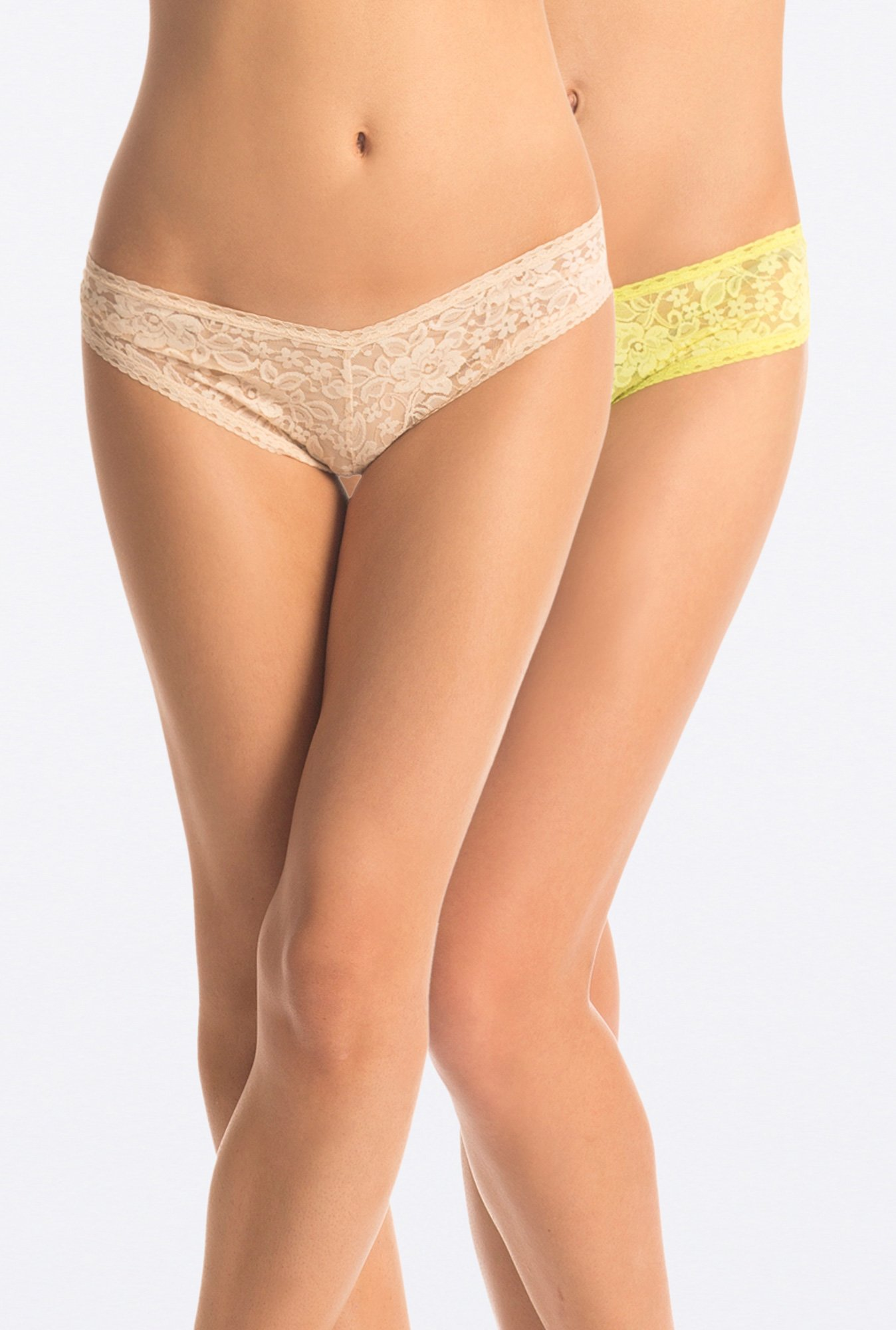 PrettySecrets Beige & Yellow Lacy Hipster (Pack of 2)
