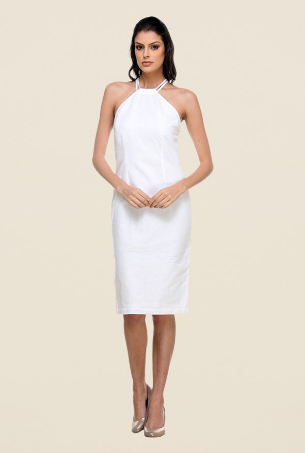 Kaaryah White Halter Neck Dress