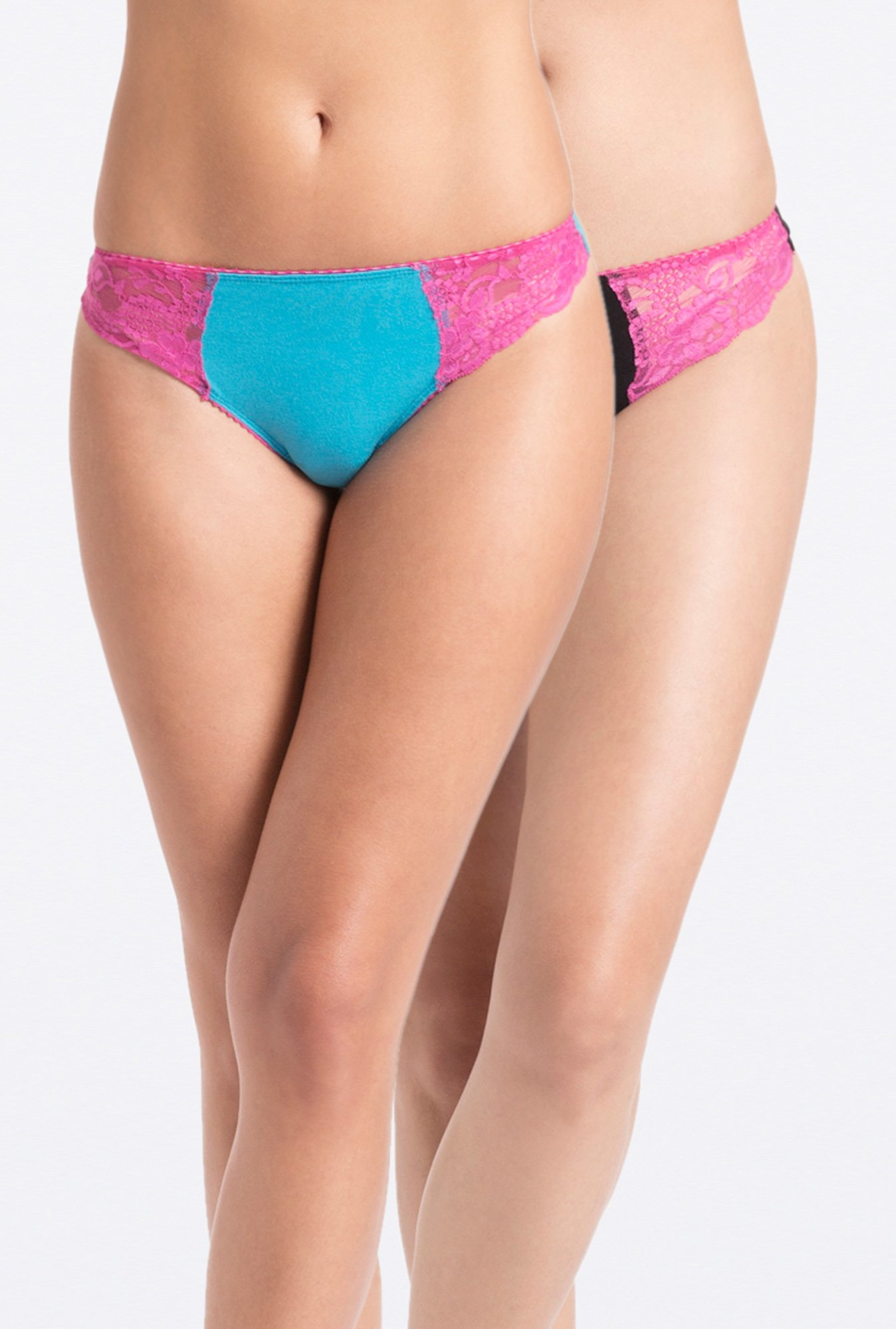 PrettySecrets Multicolor Cotton Lacy Thong (Pack of 2)