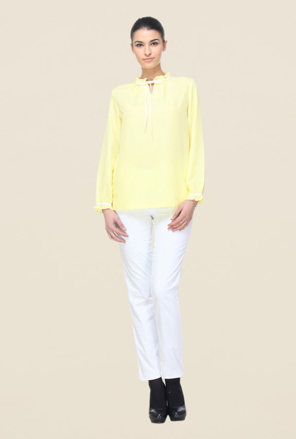 Kaaryah Yellow Polyester Solid Top