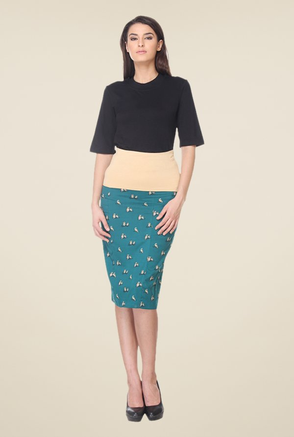 Kaaryah Teal Printed Pencil Skirt
