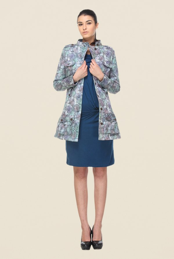 Kaaryah Blue Printed Coat