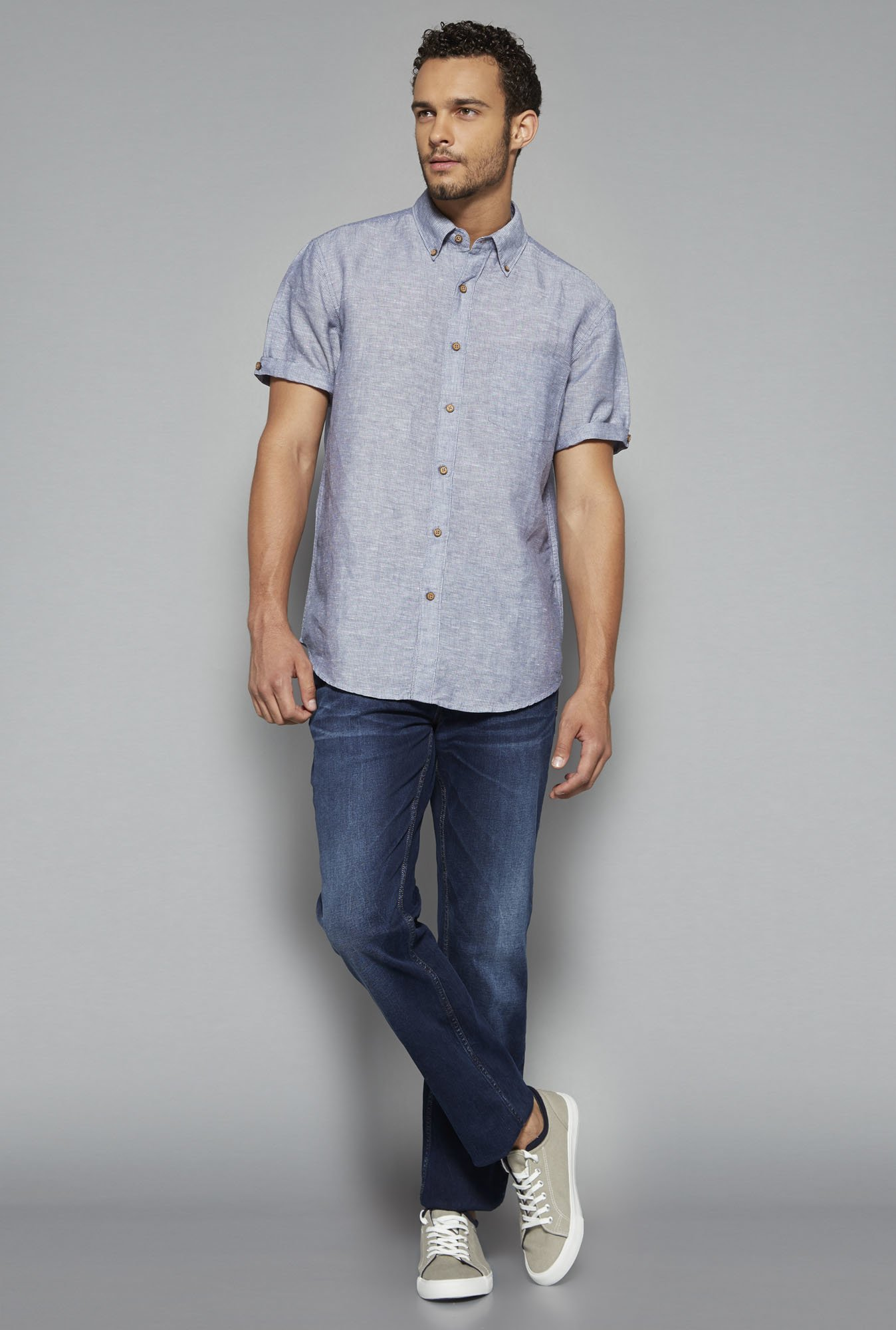Westsport by Westside Blue Striped Shirt