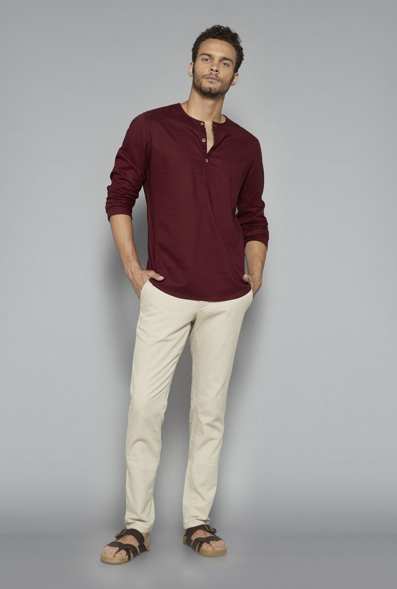 ETA by Westside Maroon Self Print Shirt