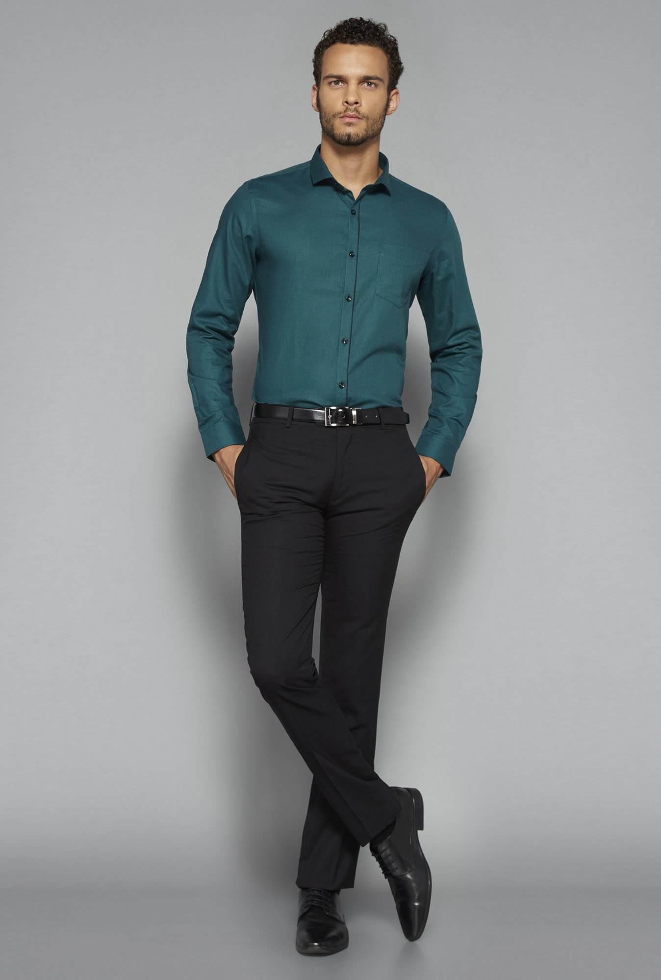 Weststreet by Westside Green Solid Shirt