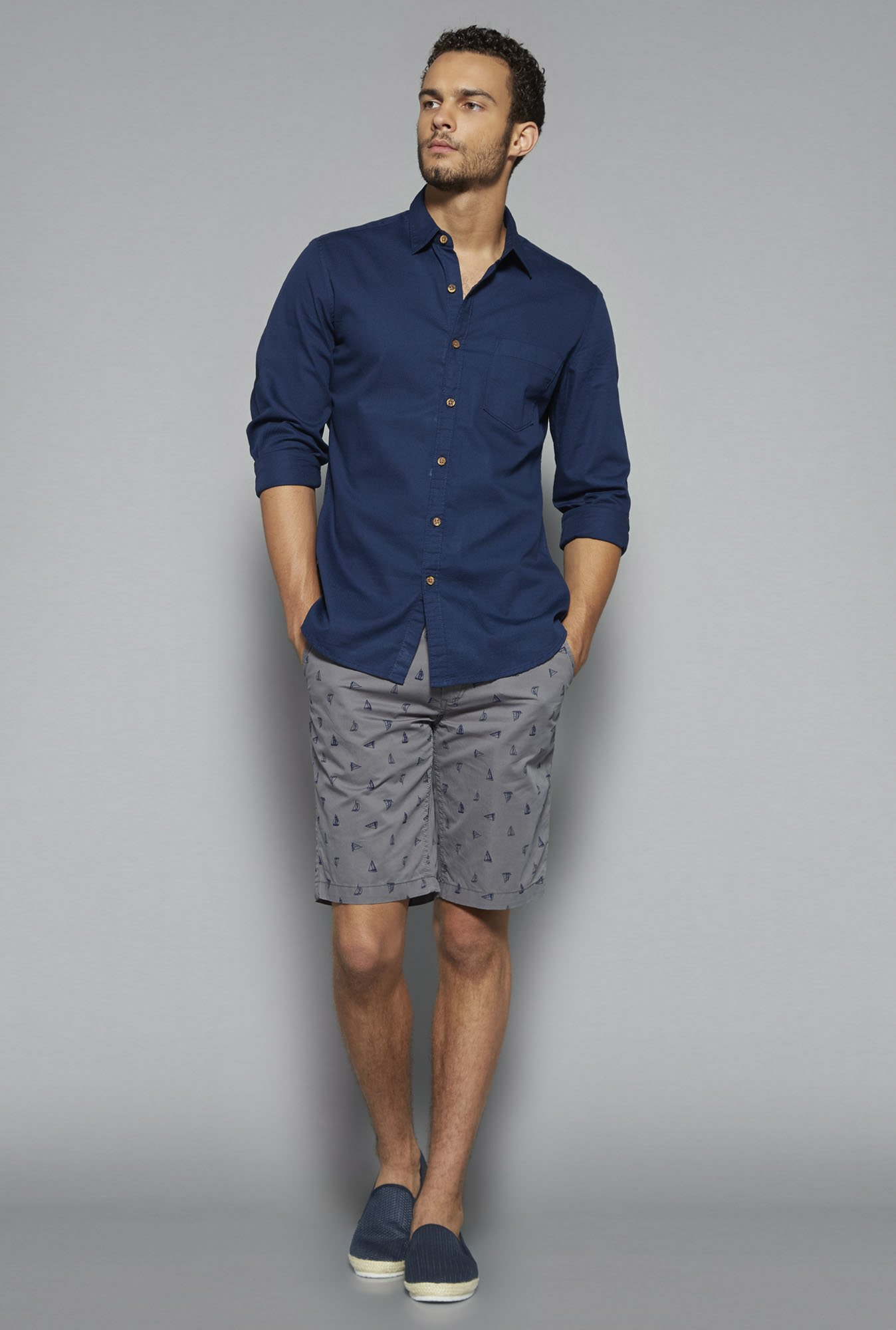 Westsport by Westside Grey Printed Shorts