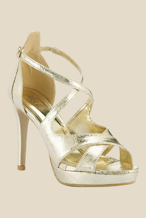 Tresmode Golden Cross Strap Sandals
