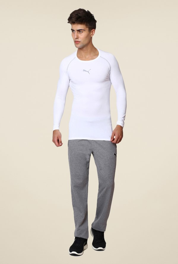 Puma White Solid T-shirt