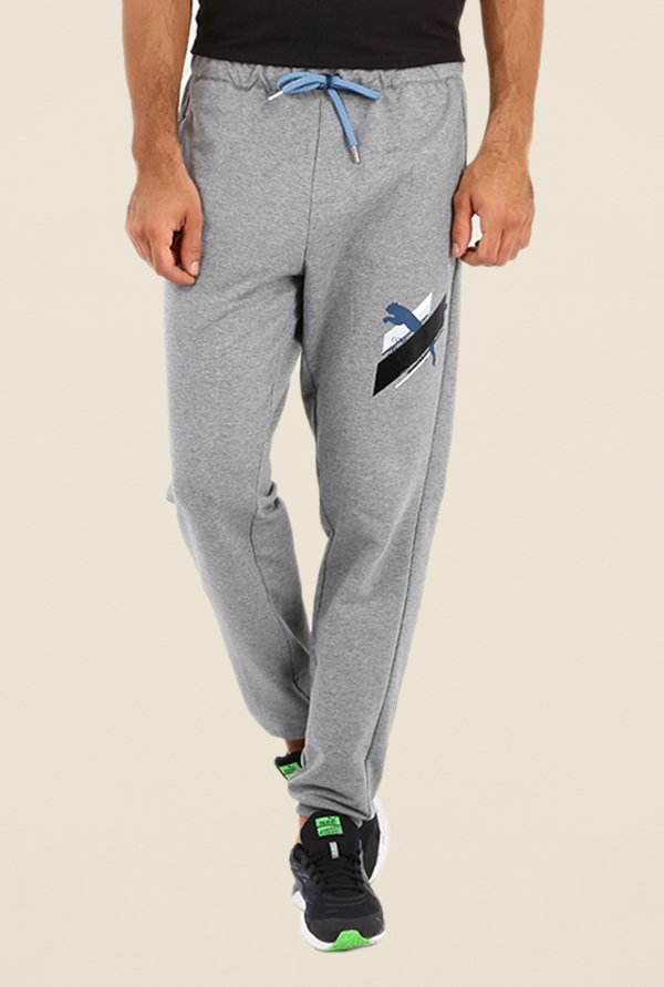 Puma Grey Solid Cotton Joggers