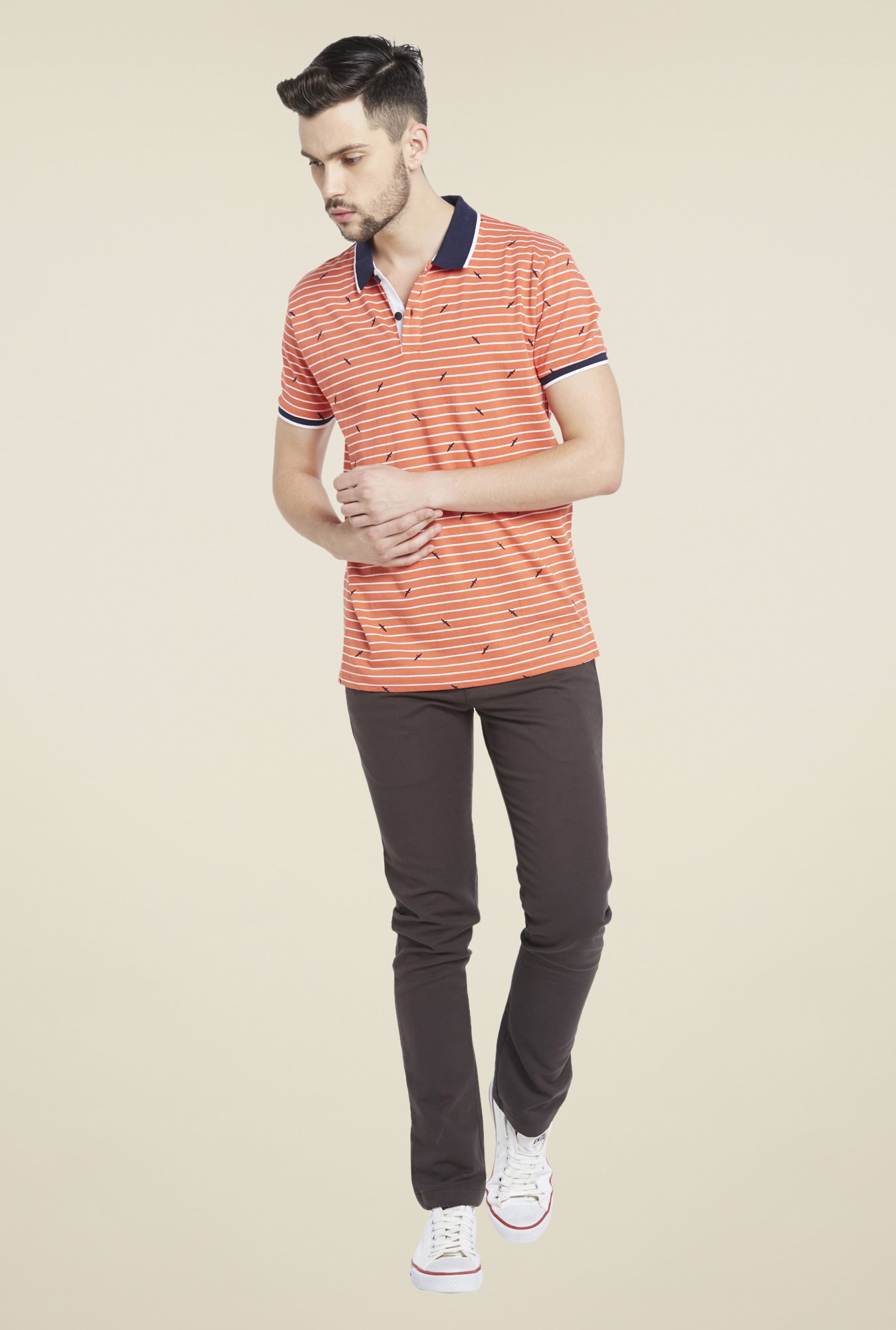 Globus Orange Striped Polo T Shirt