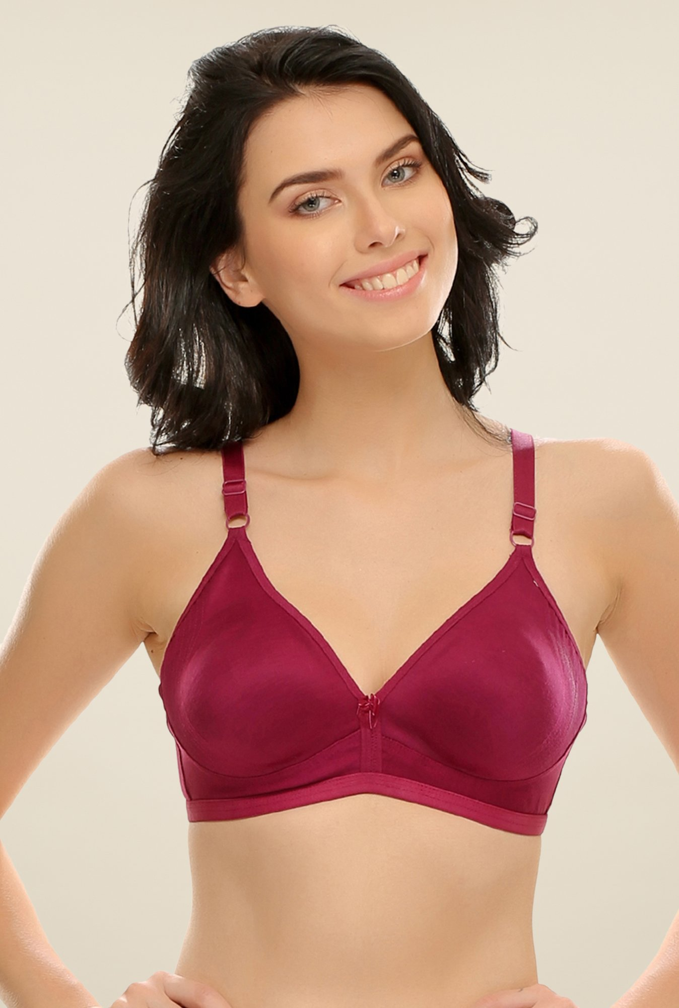 Clovia Maroon Double Layered Plus Size T Shirt Bra