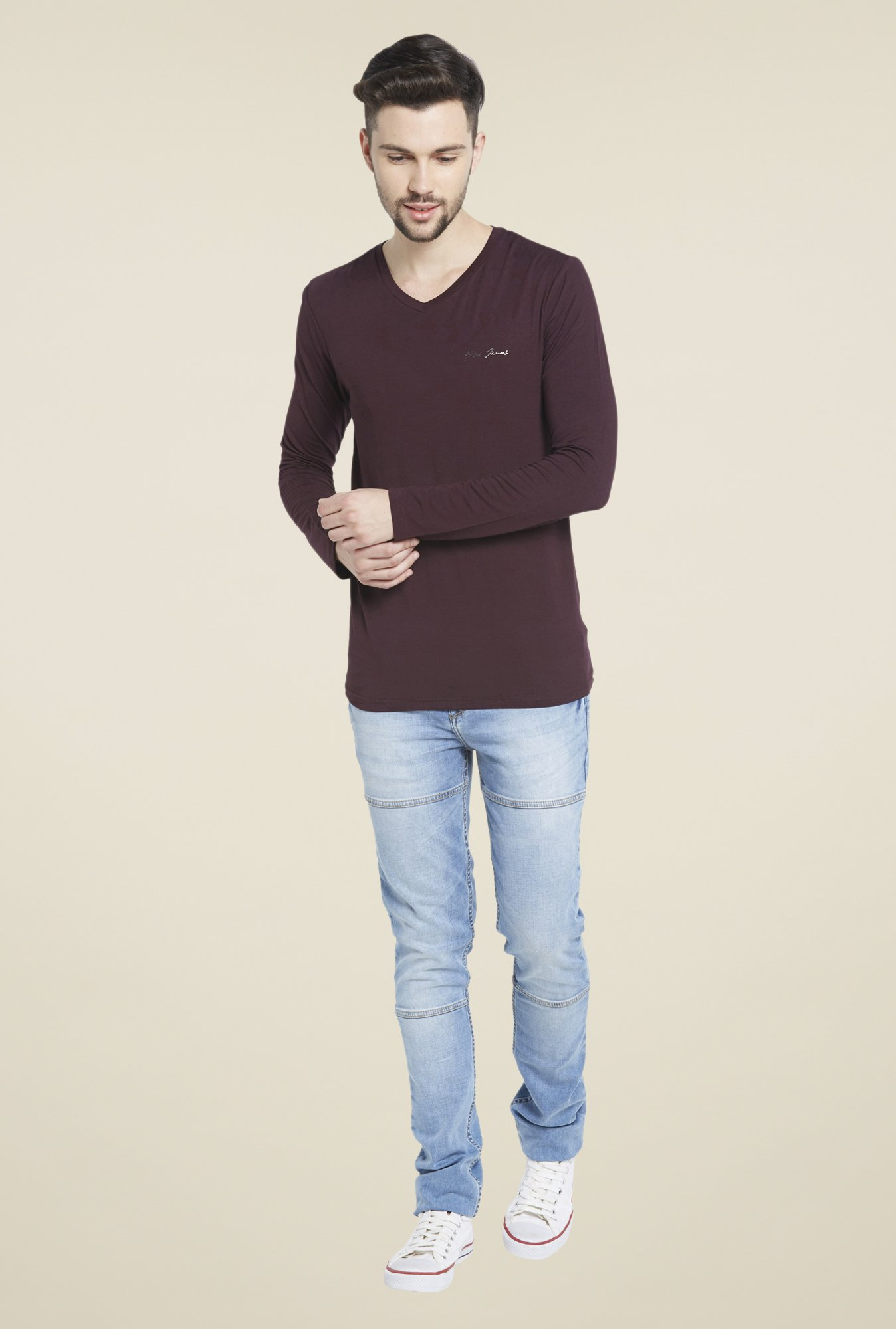 Globus Maroon Full Sleeves V Neck T Shirt