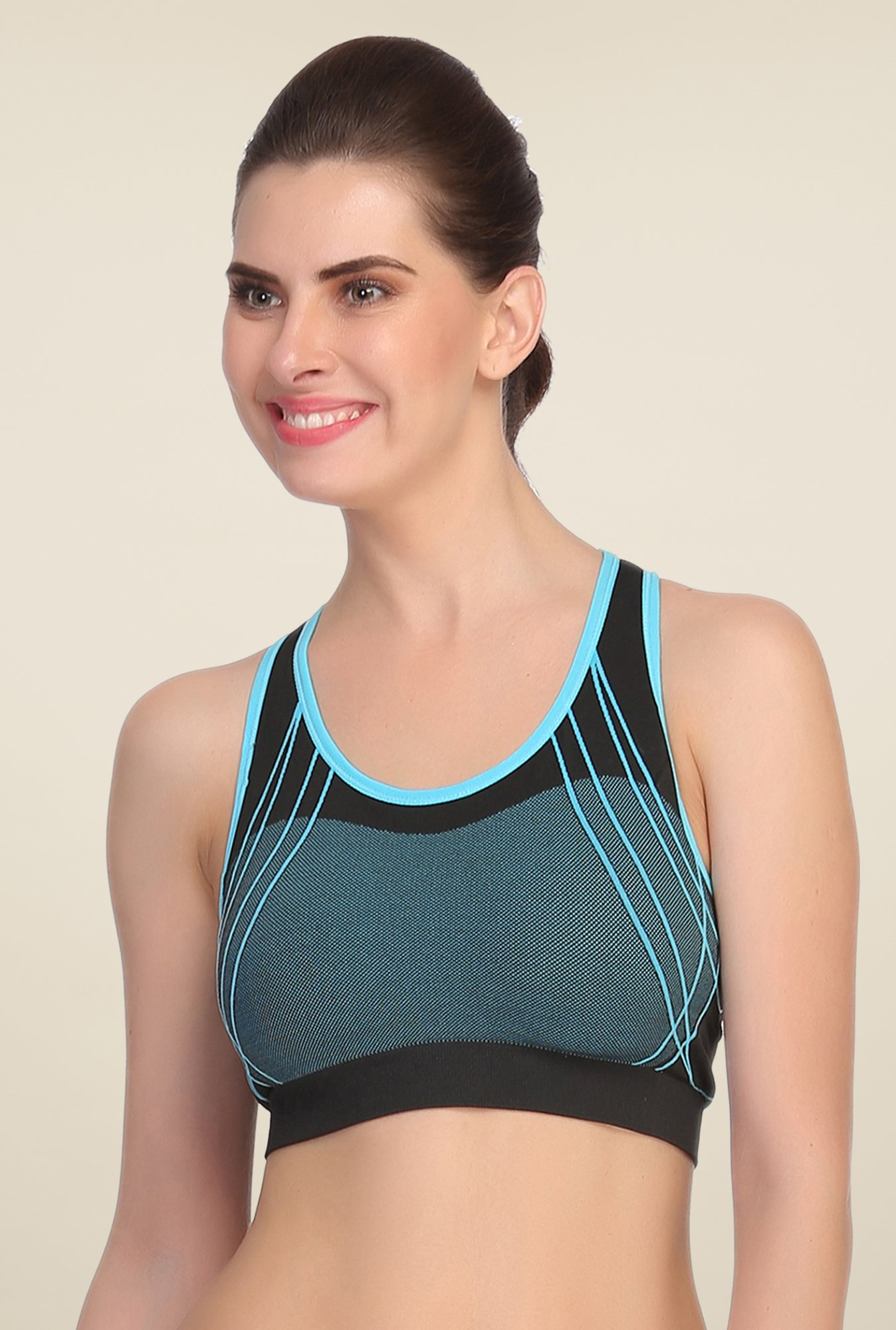 Clovia Blue & Black Comfy Padded Sports Bra