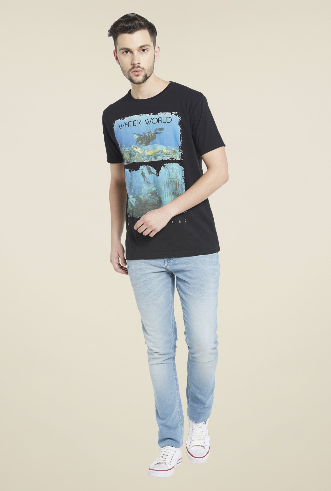 Globus Black Graphic Print Viscose T Shirt
