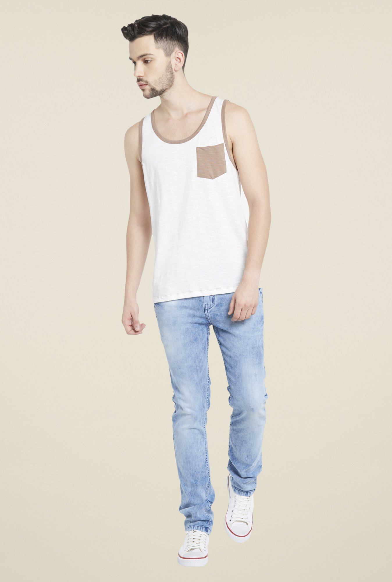 Globus Off White Round Neck T Shirt