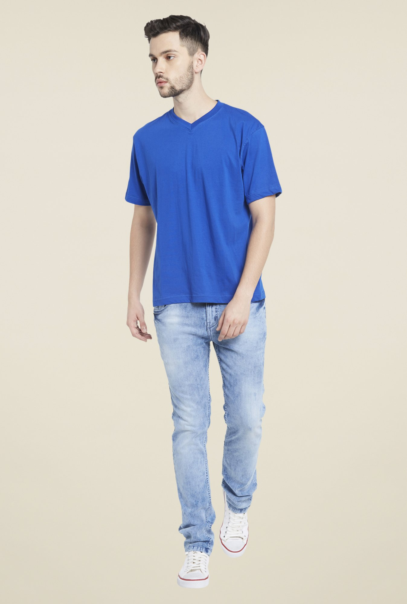 Globus Blue V Neck T Shirt