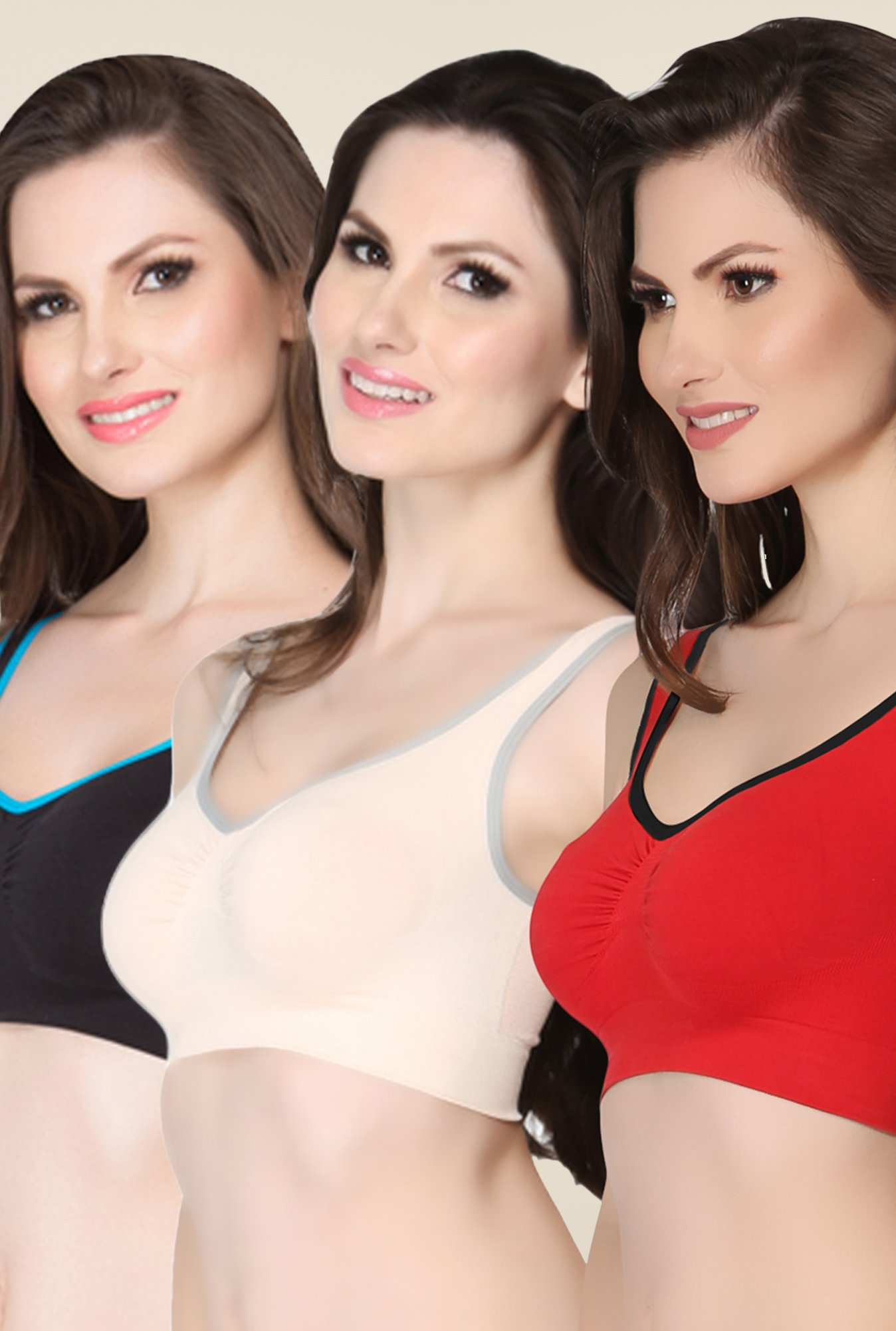 Clovia Black, Beige & Red Bra (Pack of 3)