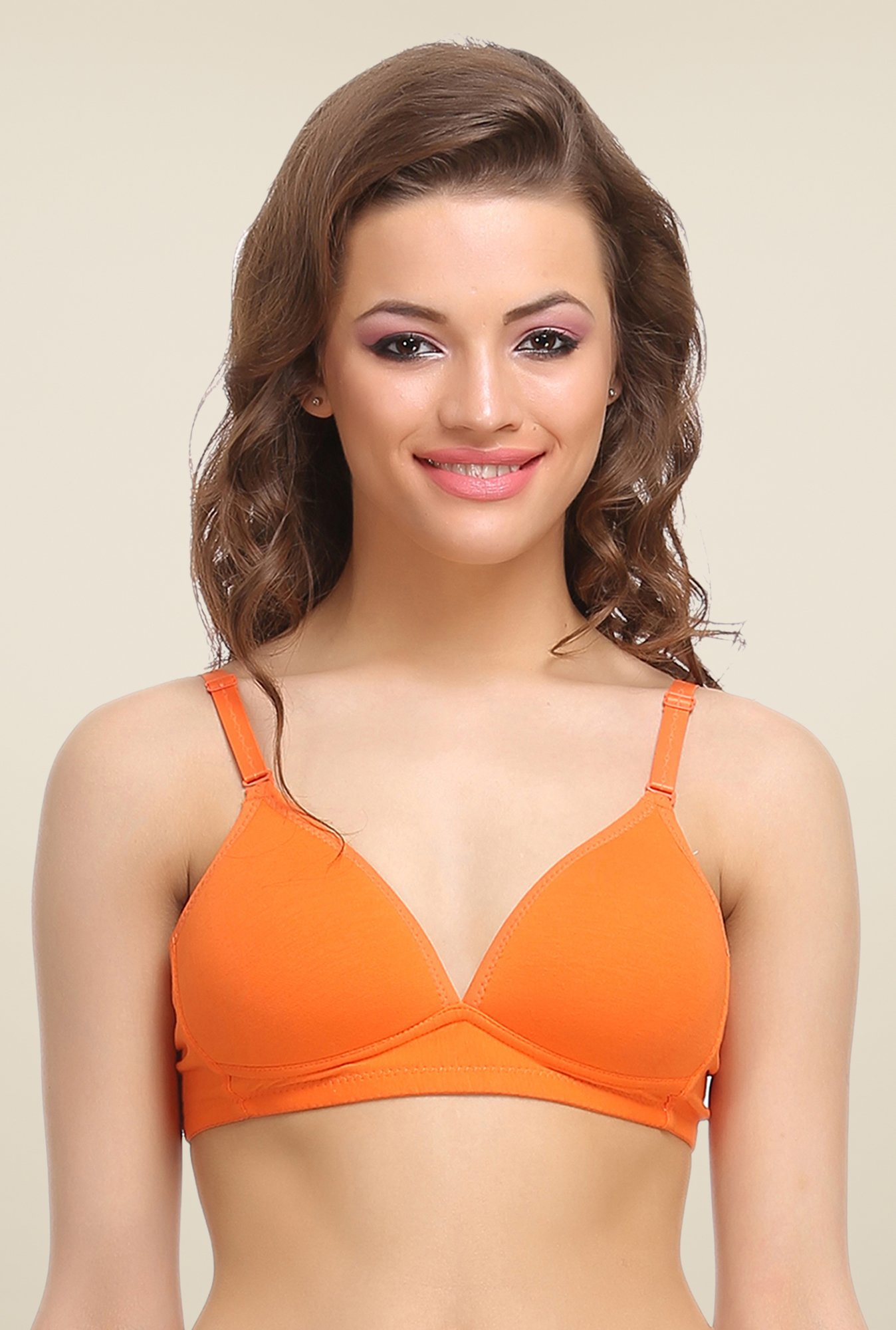 Clovia Orange Padded T Shirt Bra With Detachable Straps