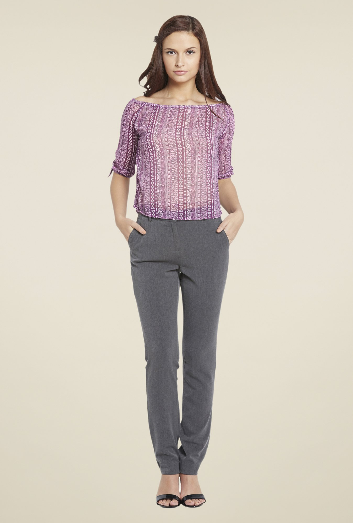 Globus Purple Printed Top