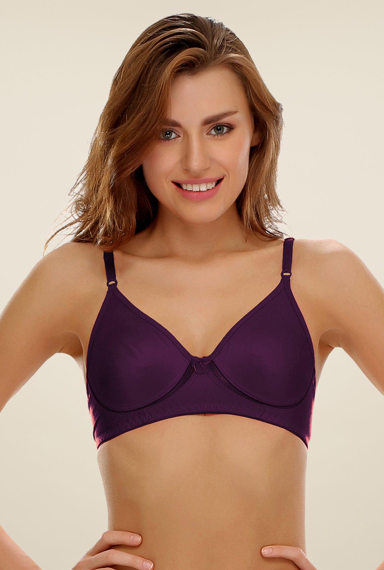 Clovia Purple Non Padded Wirefree T Shirt Bra