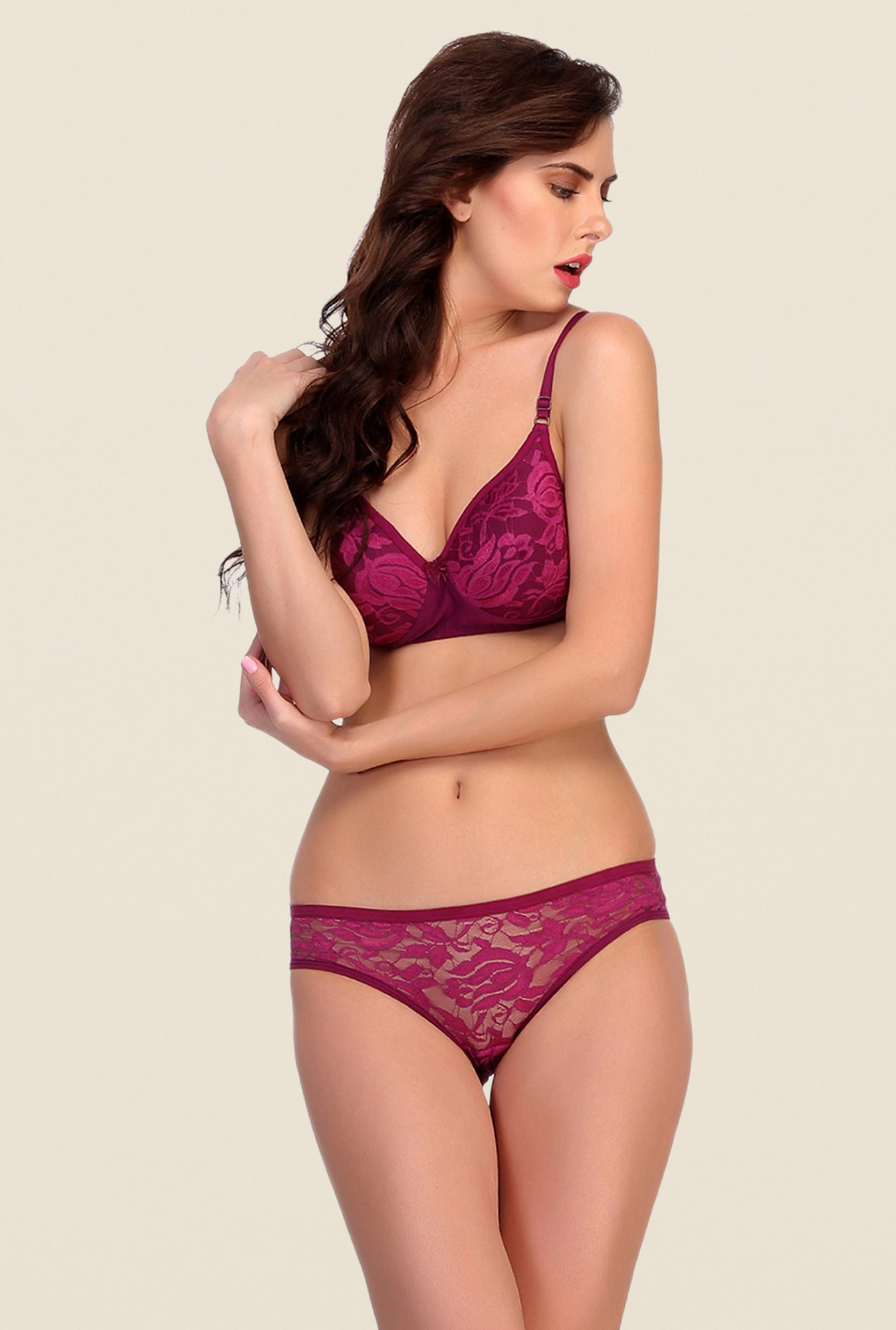 Clovia Purple Wirefree Padded Bra & Panty Set
