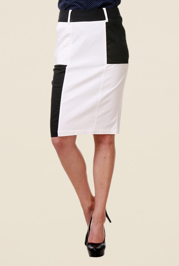 Kaaryah White & Black Pencil Skirt