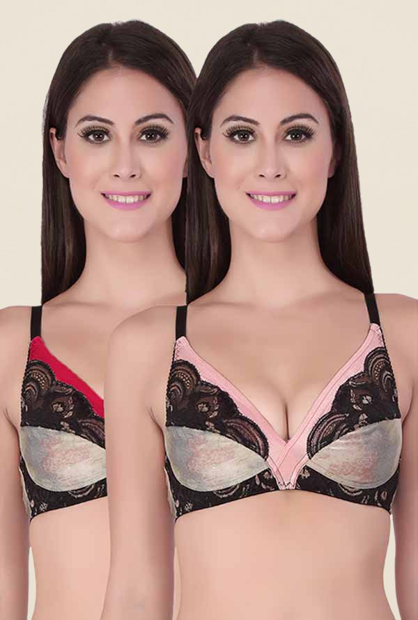 Soie Pink & Red Lace Balconette Bra (Pack Of 2)