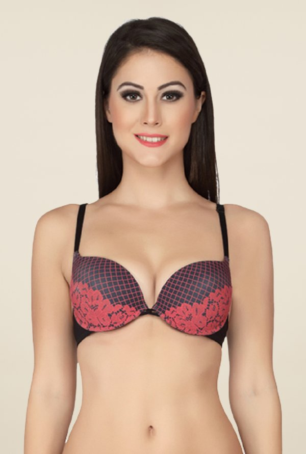 Soie Red Underwired Front Open Bra
