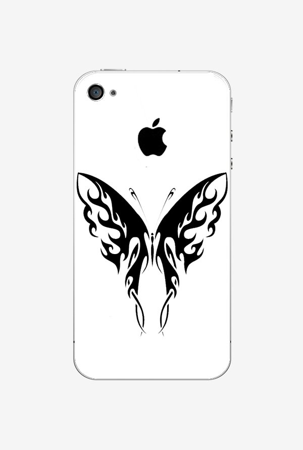 Ziddi BUTRFLY Hard Back Cover for iPhone 4S (White)