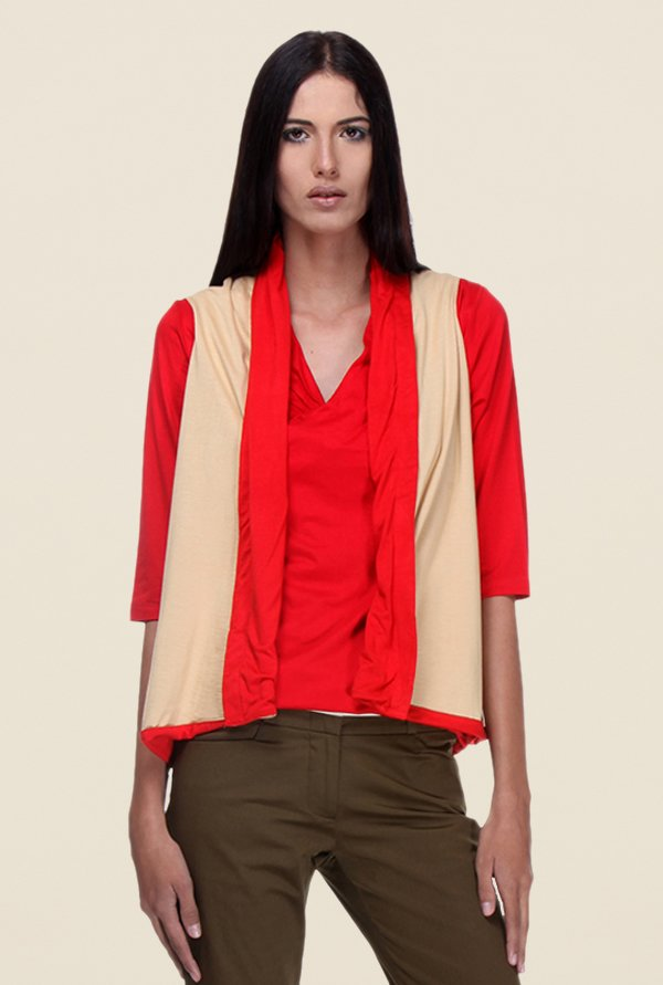 Kaaryah Red & Beige Solid Shrug