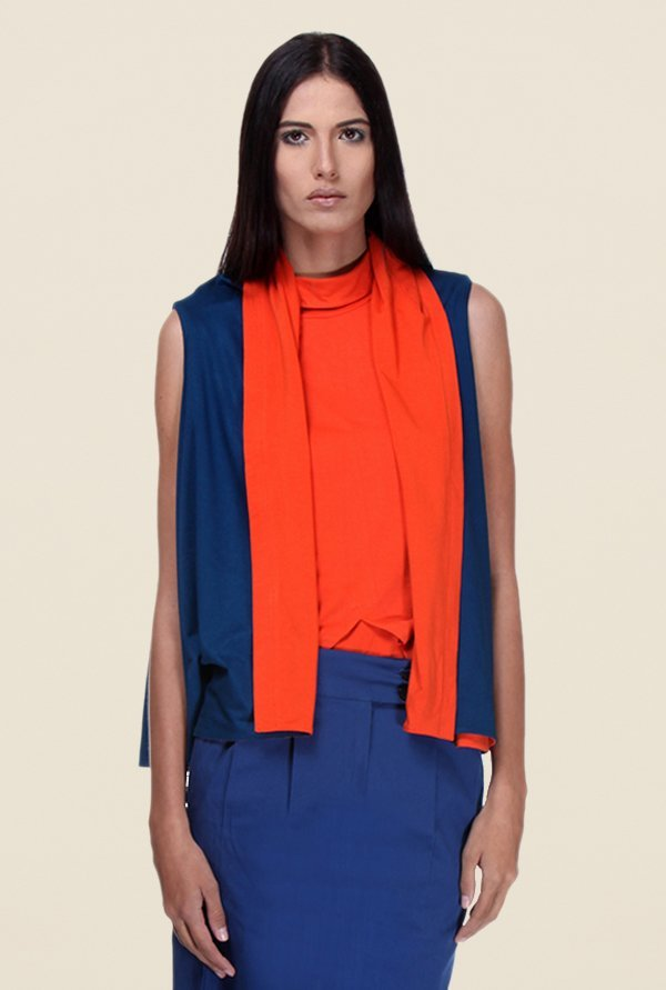 Kaaryah Blue & Orange Sleeveless Shrug