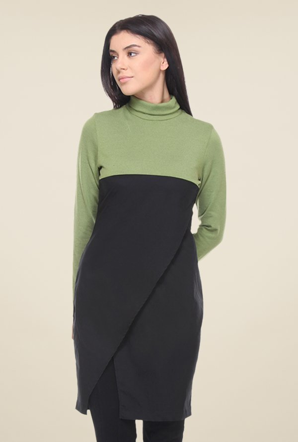 Kaaryah Green & Black Solid Dress