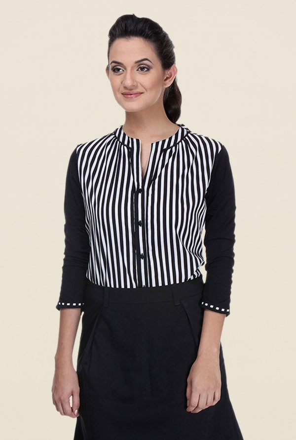 Kaaryah Black Striped Shirt