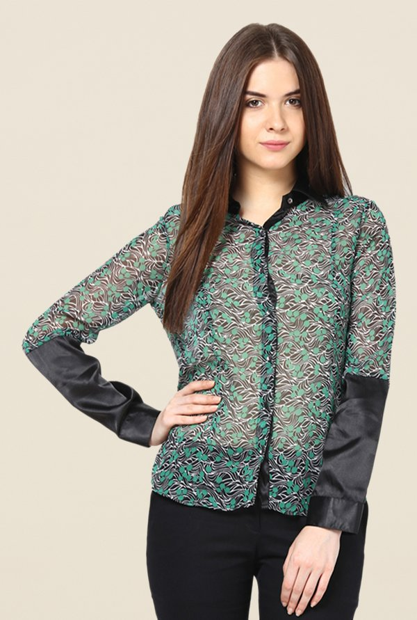 Kaaryah Green Printed Shirt
