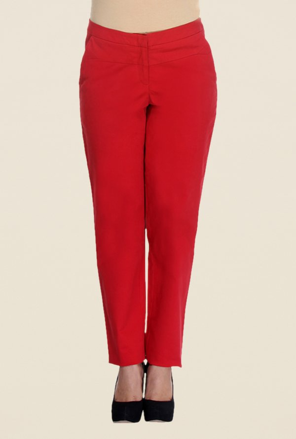 Kaaryah Red Solid Trouser