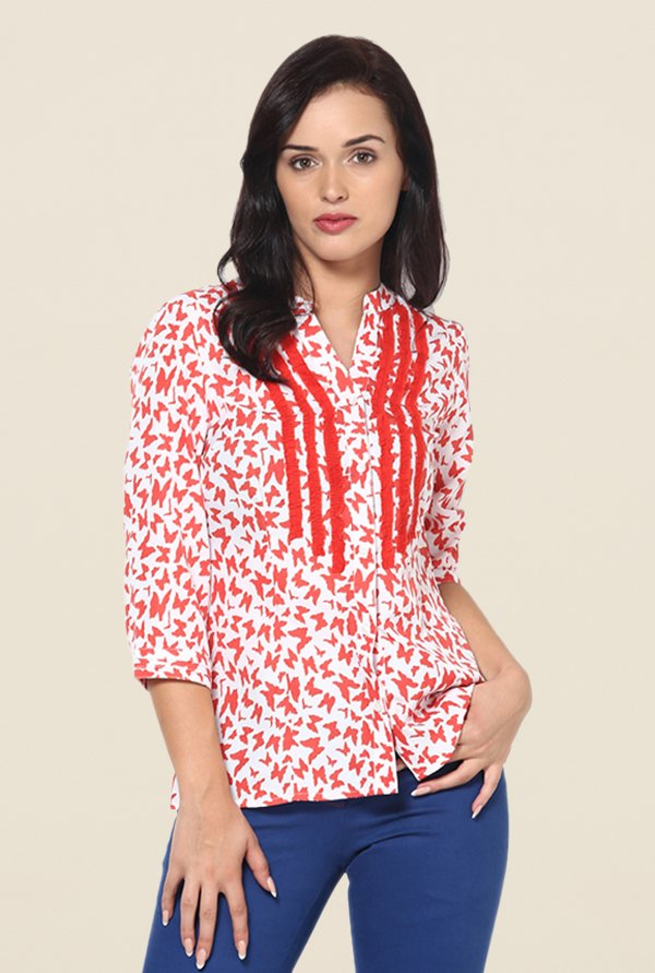 Kaaryah White & Red Printed Shirt