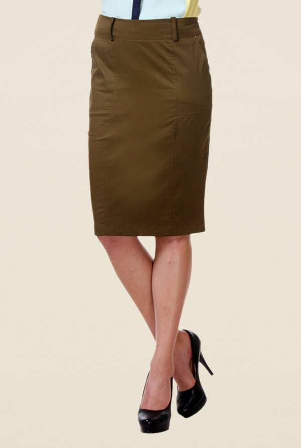 Kaaryah Khaki Pencil Skirt