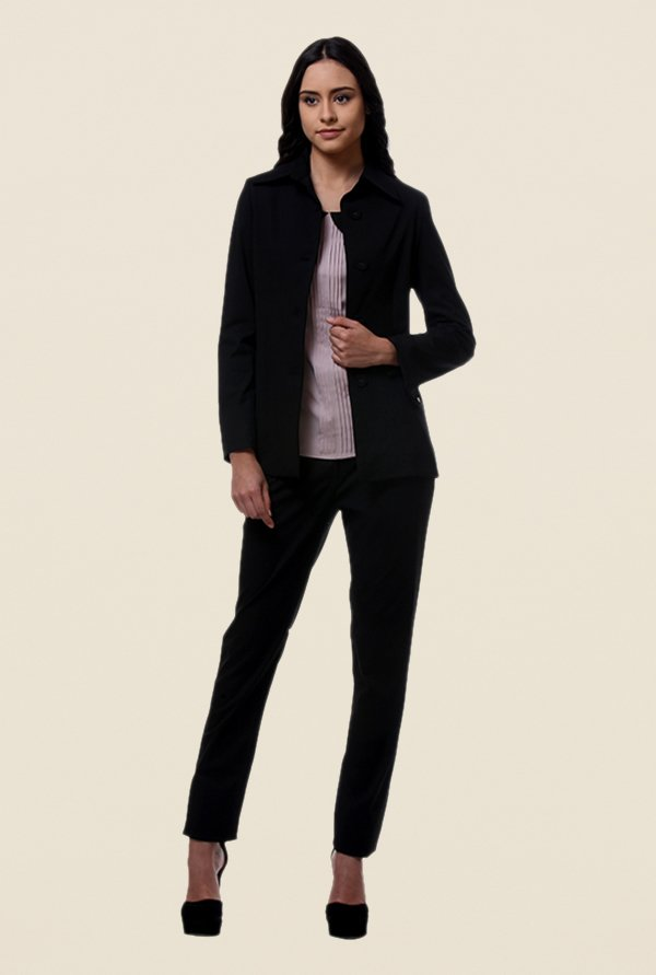 Kaaryah Black Full Sleeves Wool Jacket