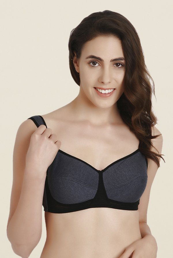 Soie Charcoal Full Coverage Non Wired Non Padded Sports Bra