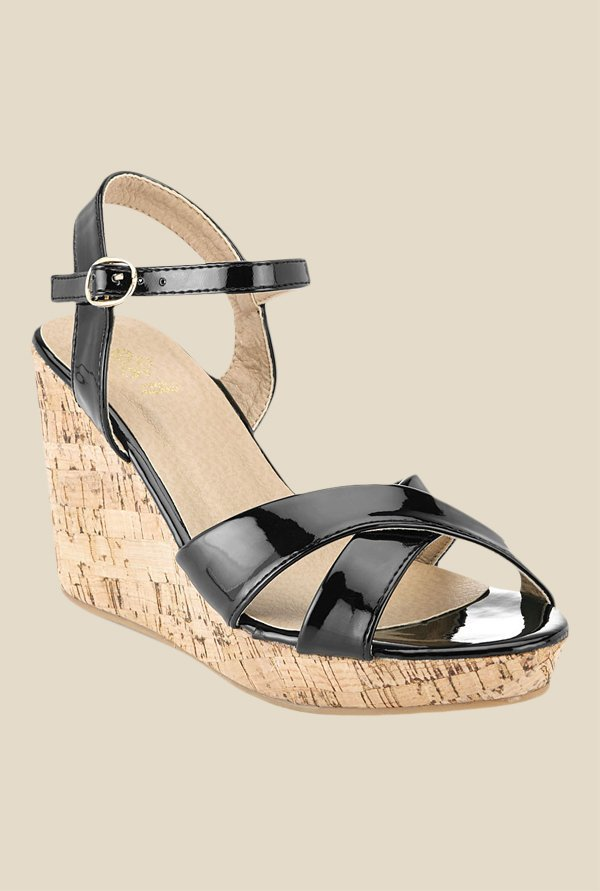 Tresmode Black Ankle Strap Sandals