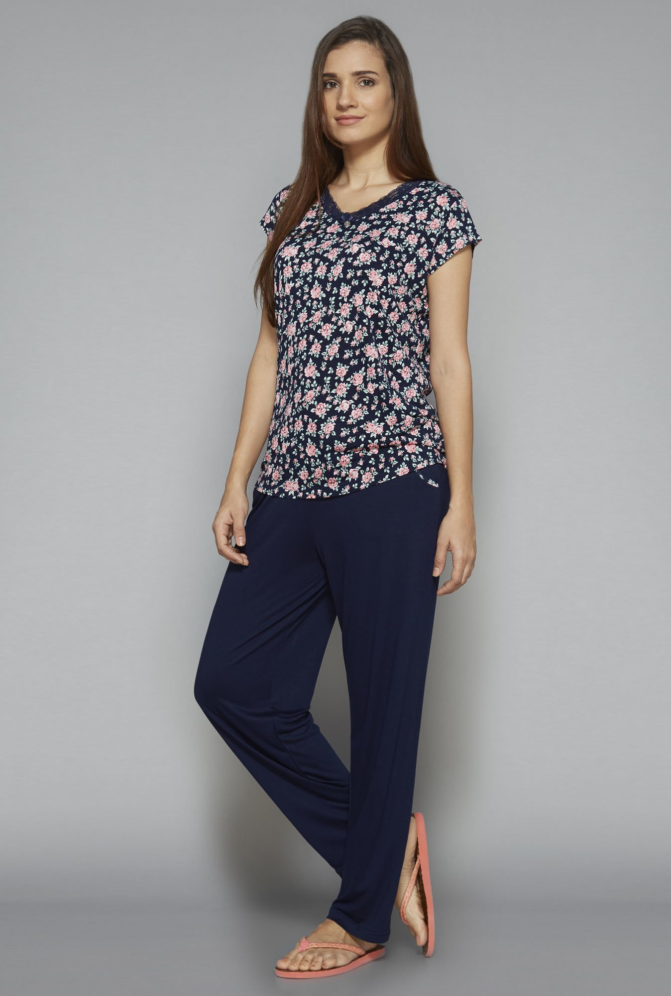 Intima by Westside Navy Floral Print Pyjama Set