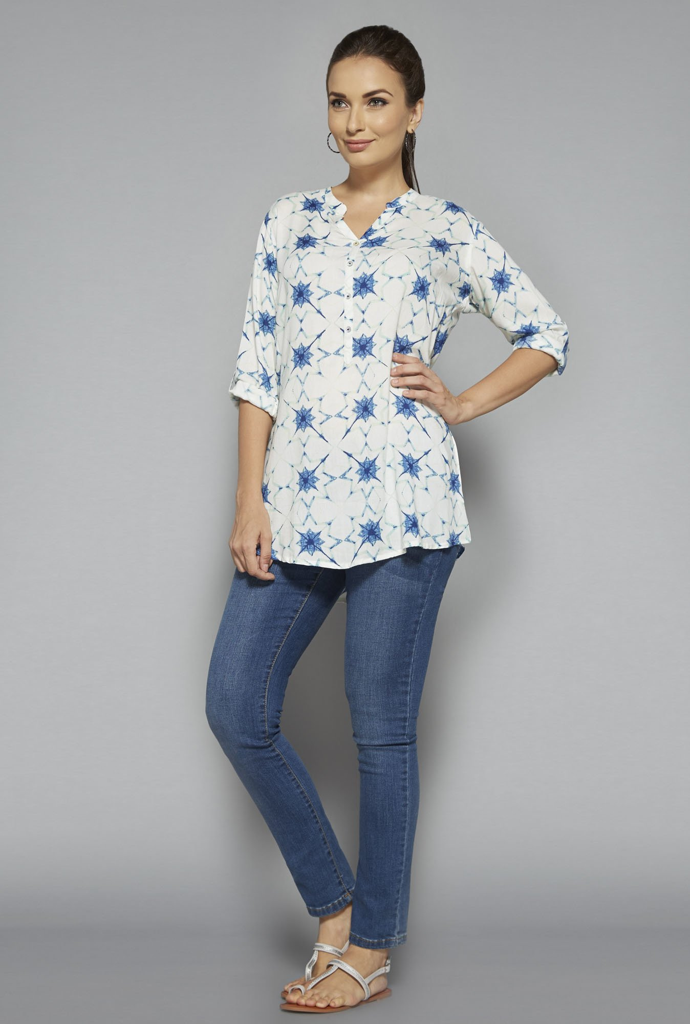 Utsa by Westside Off White Printed Kurti