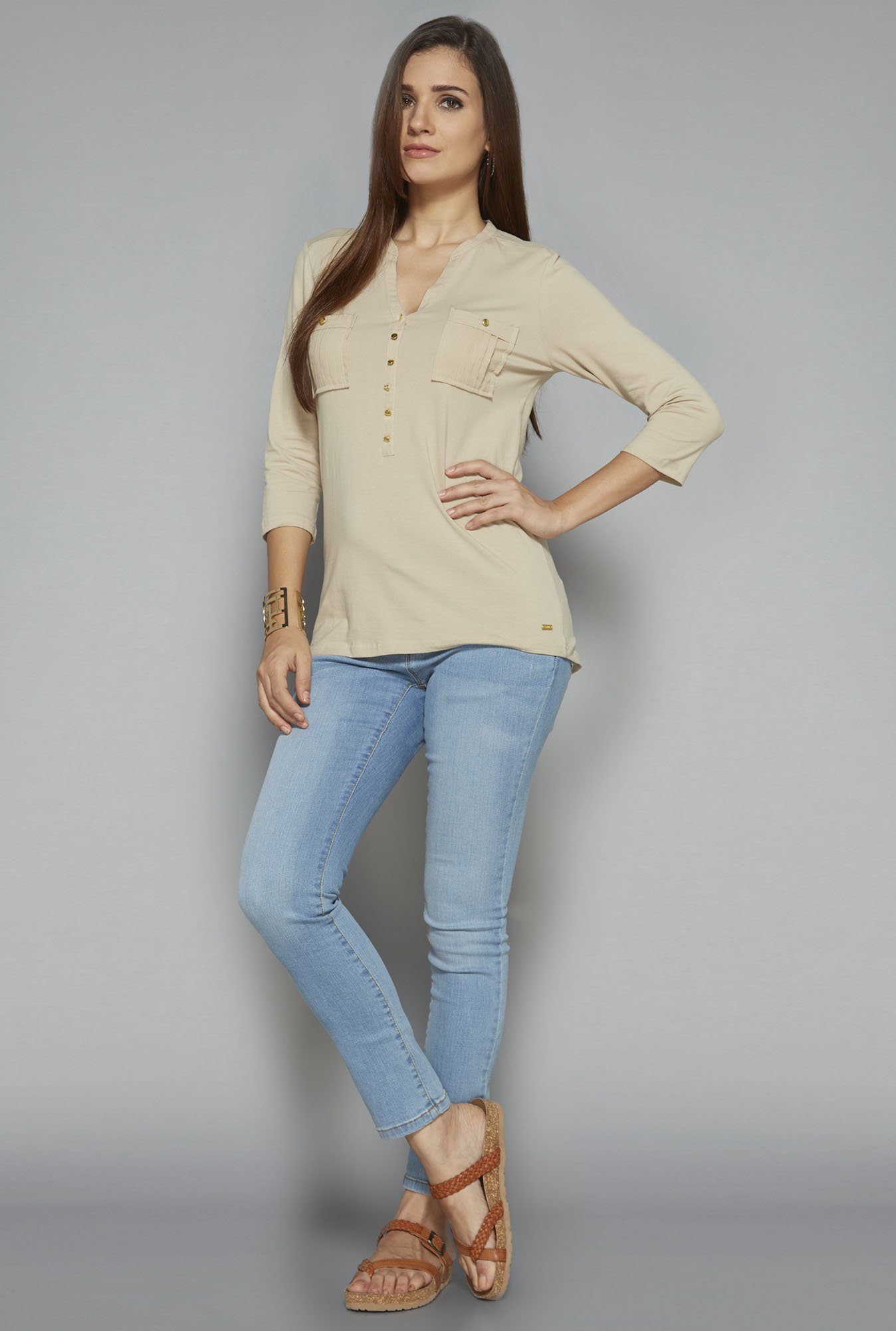 LOV by Westside Beige Solid Top