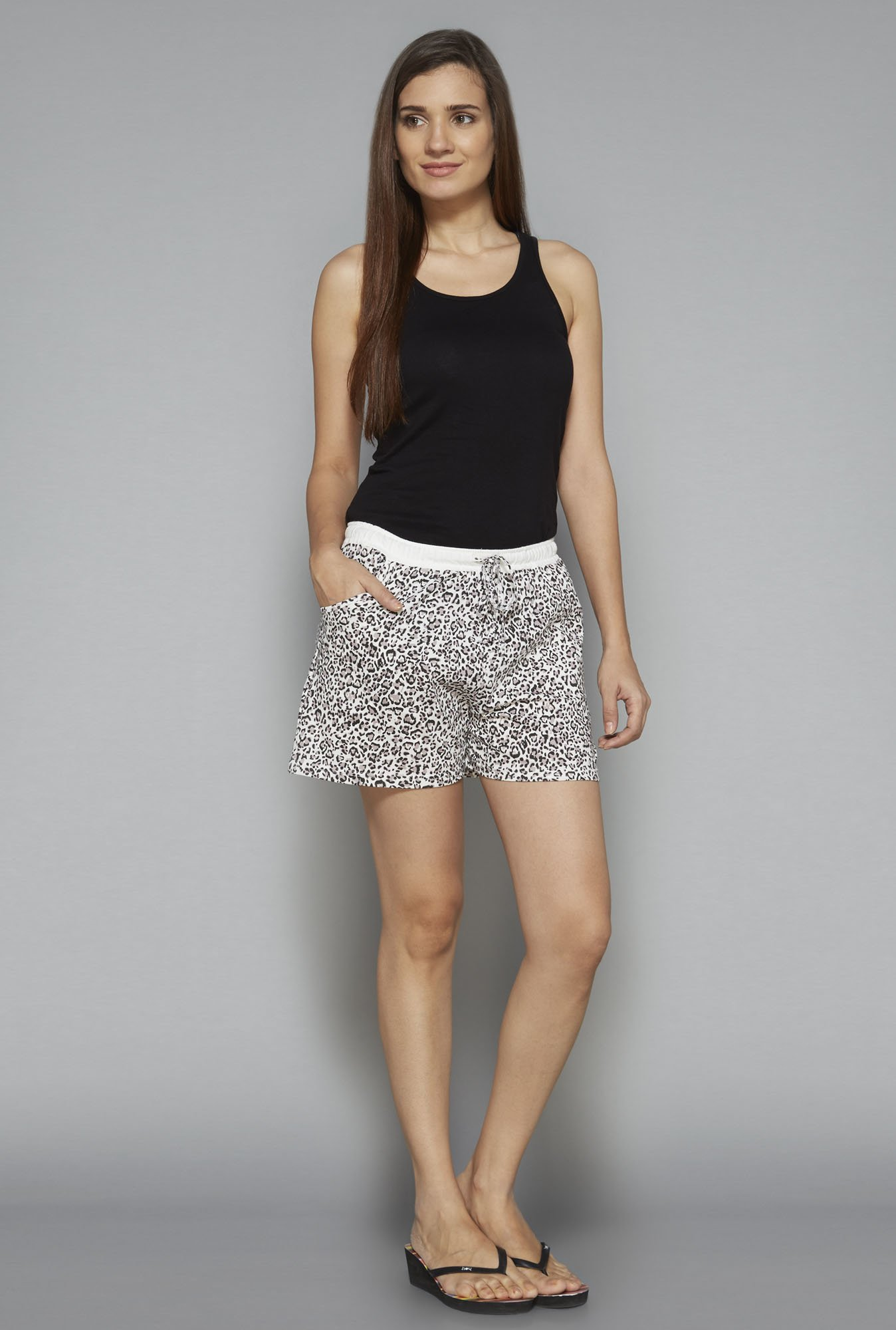 Intima by Westside Beige Printed Shorts
